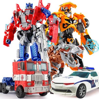 变形玩具金刚4 大黄蜂警车变身汽车恐龙机器人模型儿童礼物男孩