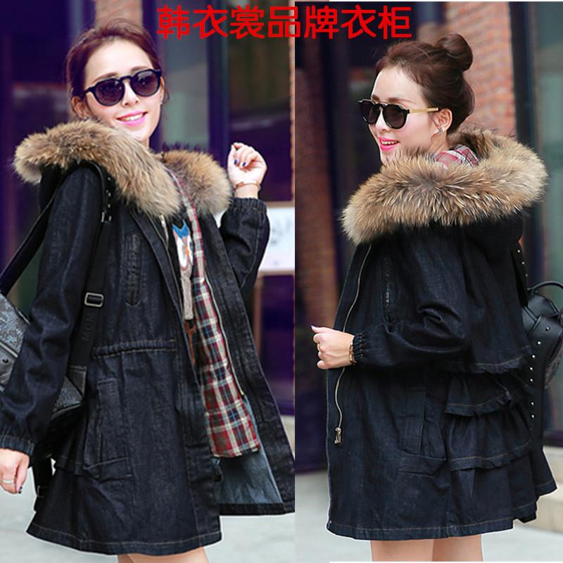 韩版针织袖牛仔棉衣女 冬加厚棉衣外套 中长款连帽牛仔外套收腰潮