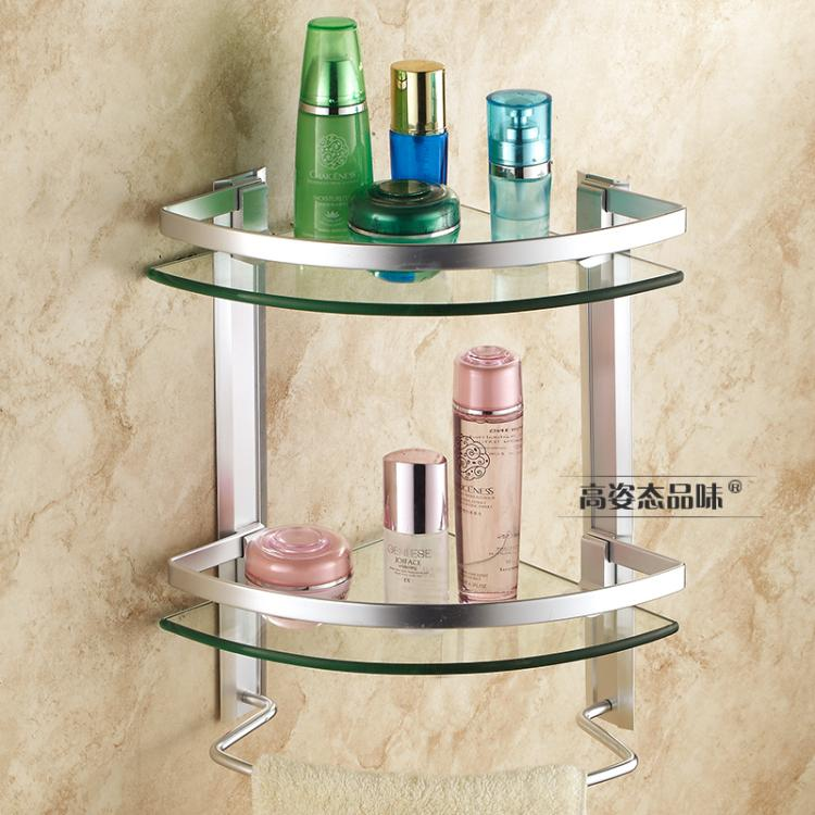 卫浴卫生间三角架浴室玻璃转角架洗手间淋浴房置物架