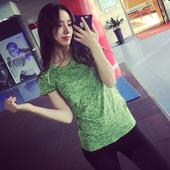 暴走的萝莉段染炫色跑步瑜伽健身服运动短袖T恤女夏季速干健身衣