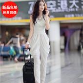 2016新款夏装韩版时尚女哈伦裤欧美连体裤无袖高腰连衣裤超显瘦女