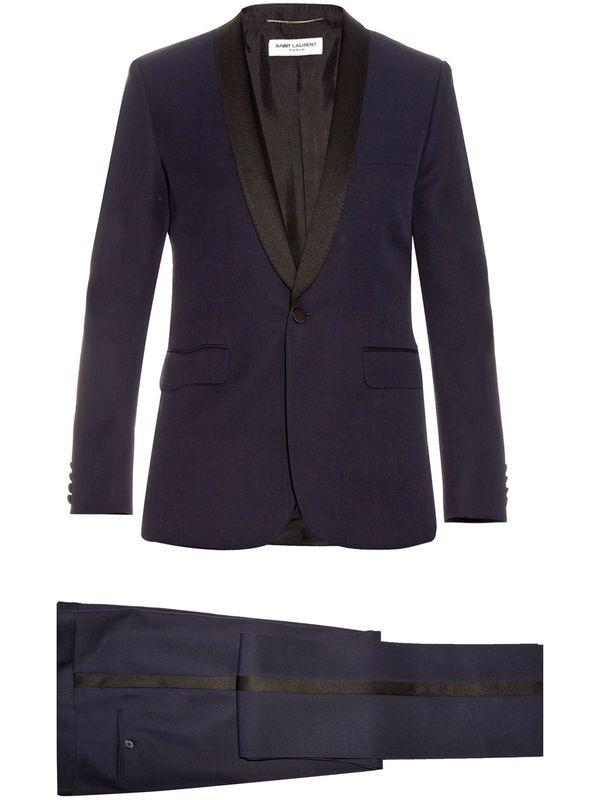 英国代购 Saint Laurent 男士粒纹羊毛西服套装