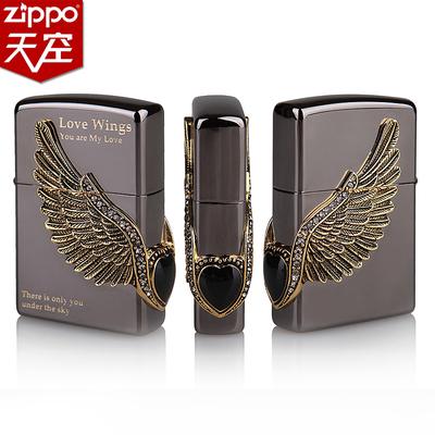 原装ZIPPO打火机 黑冰镶宝石飞翔爱 飞得更高 天使之翼 翅膀 爱情
