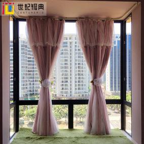 飘窗窗帘 韩式公主窗帘白色纱蕾丝纯色窗纱卧室遮光成品窗帘布