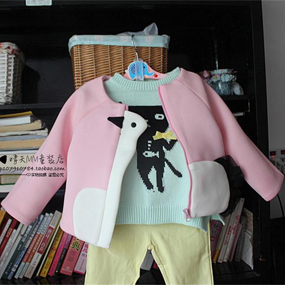 2014女童冬新款天鹅短款宝宝儿卡通清新韩版空气棉女宝宝秋装外套