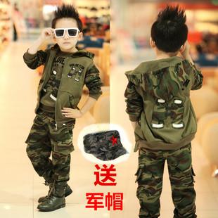 童装男童春装套装3-4-5-6-7-8岁9儿童迷彩服10军装卫衣春秋三件套