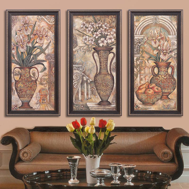 绘绘美式欧式客厅装饰画油画三联组合壁画挂画沙发墙
