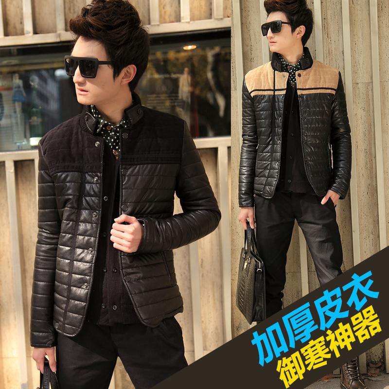 空城计2014冬装男士皮夹克立领短款韩版修身型棉加厚皮衣外套潮