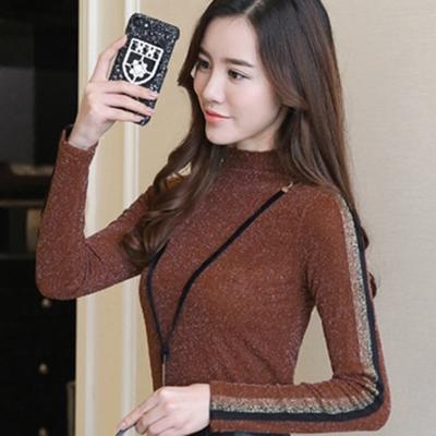 2017秋冬新款韩版加绒加厚蕾丝衫保暖打底衫长袖t恤上衣女士小衫