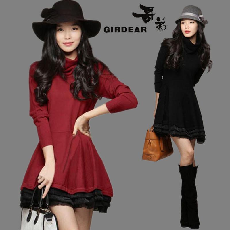 2014秋冬新款女装加厚高领中长款羊绒长袖连衣裙大码韩版羊毛裙子