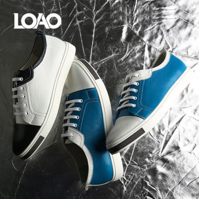 LOAO新款夏季牛皮小白鞋真皮鞋子韩版板鞋透气百搭潮流男鞋时尚