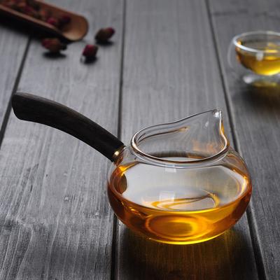 好茗天 加厚耐热玻璃公道杯 黑檀实木侧把茶海功夫茶具分茶器公杯