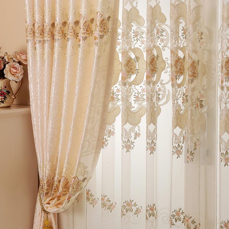 名门之秀欧式水溶绣花窗帘成品半遮光客厅卧室成品布