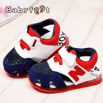 [新年价] Babyfeet2015新款夏季宝宝儿童包头凉鞋 男童女童1-3岁网面运动鞋