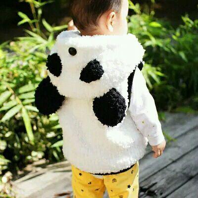成品处理中纯手工编织童装熊猫春秋背心马甲男女宝宝毛衣婴儿外套