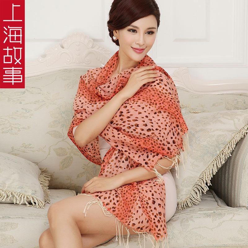 上海故事正品 100%纯羊毛女围巾披肩 2014秋冬新款厂家直销送礼盒
