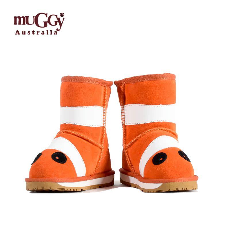 【预售3天发货】牧奇儿童卡通小丑鱼雪地靴羊皮毛一体冬靴包邮