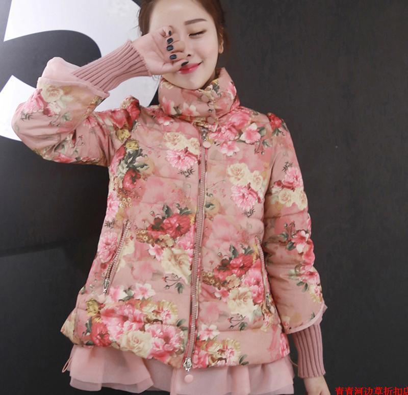 2014甜美清新棉服女士短款韩版修身羽绒棉衣冬装大码加厚外套碎花