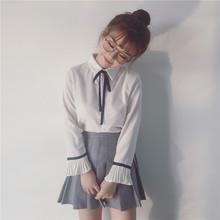 两件套 女衬衣学院百褶裙装 喇叭袖 针织背心裙套装 雪纺衬衫 春季韩版