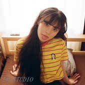 人像刺绣条纹撞色领T恤 代购 BOWLS正品 17韩国设计师品牌SALAD