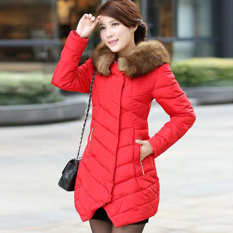 2014秋冬新款女式棉服 韩版中长款羽绒棉棉衣大毛领加厚保暖外套