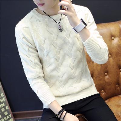 秋冬季加厚圆领套头毛衣男韩版修身扭花纯色毛线衣青年男装打底衫