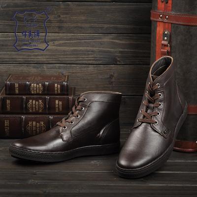牛头牌秋冬季真皮圆头男靴英伦短靴休闲高帮板鞋潮流男鞋马丁靴子