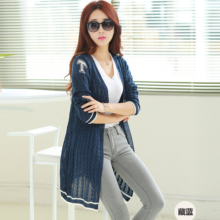2014新款秋装韩版女式开衫中长款麻花针织毛衣披肩外套