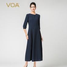 VOA水手蓝40姆米重磅真丝斜领中腰七分袖收省典雅纤细连衣裙7181图片