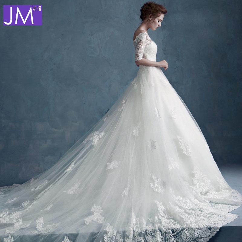 2014冬季新款一字肩领长袖齐地婚纱礼服长拖尾蕾丝修身显瘦大拖尾