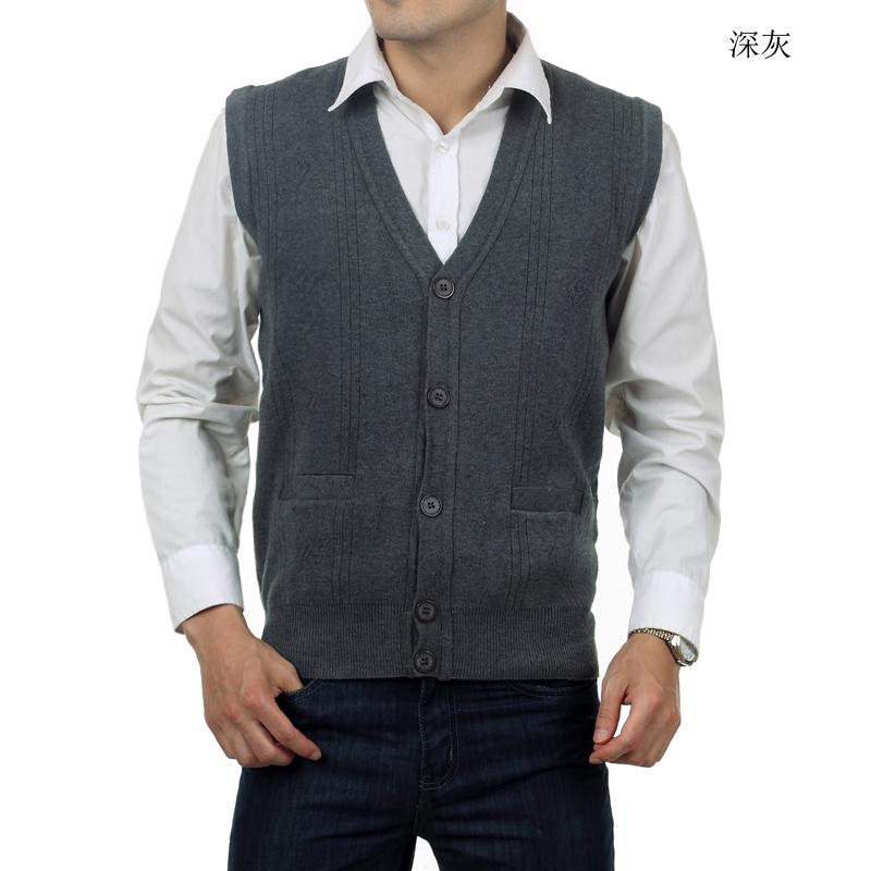 中年男士羊毛背心中老年人男开衫爸爸装厚坎肩大码针织外套秋冬装