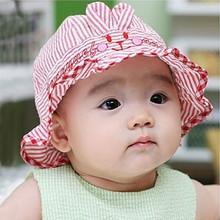婴儿帽子0-3-6个月春款遮阳帽夏男女童韩版太阳帽纯棉宝宝盆帽