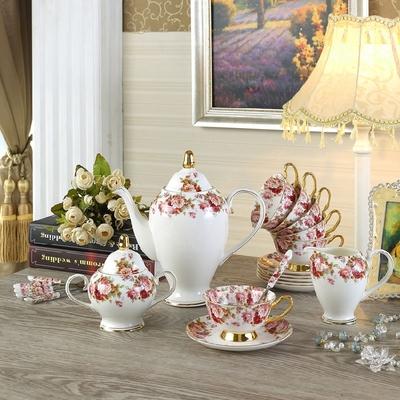 包邮欧式咖啡杯套装玫瑰小碎花 陶瓷咖啡具高档骨瓷英式茶具茶壶