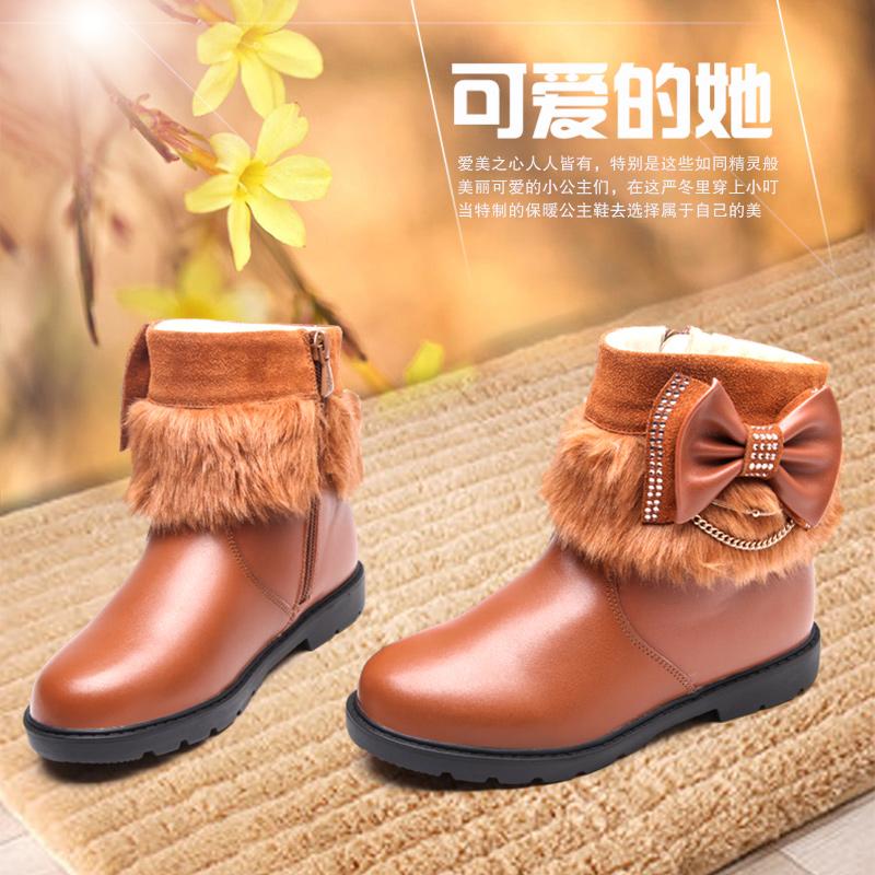 小叮当正品女童蝴蝶结马丁靴 时尚保暖皮靴 皮鞋 2014新款冬短靴