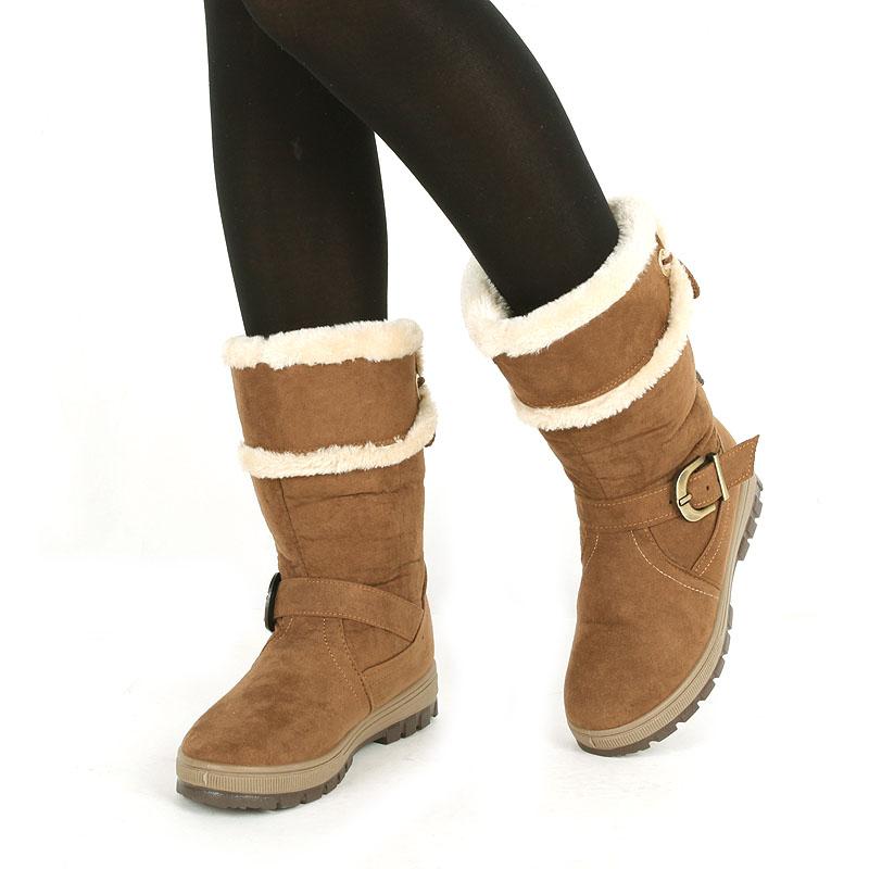京特女靴冬款老北京布鞋女加厚牛筋底长毛女棉中筒毛靴