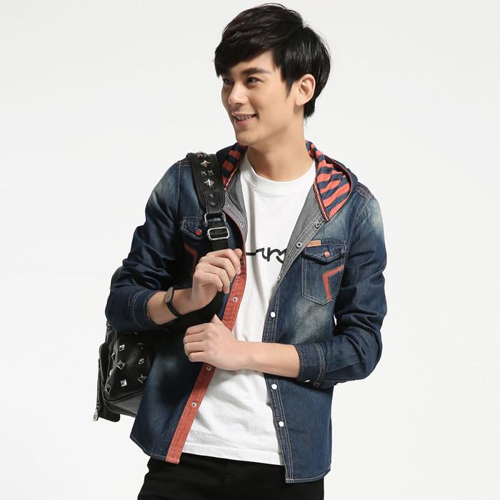 新款韩版连帽牛仔衬衣春季潮流学生牛仔长袖衬衫修身牛仔衣外套男