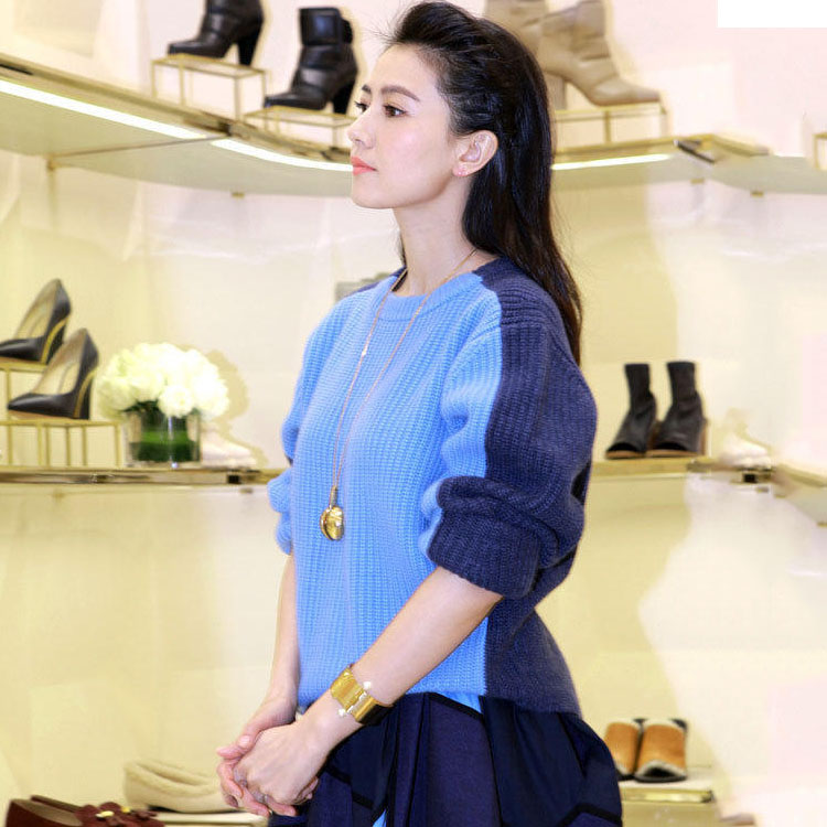 秋冬高圆圆同款蓝色粗针拼接宽松羊毛毛衣圆领套头显瘦针织衫外套