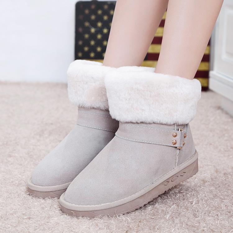 冬季韩版新款雪地靴翻毛羊毛保暖棉靴圆头真皮短靴皮带扣女靴子