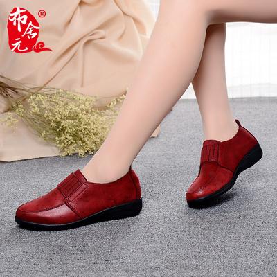 布舍元春季老北京布鞋女单鞋妈妈鞋透气防滑平底女鞋厚底深口布鞋
