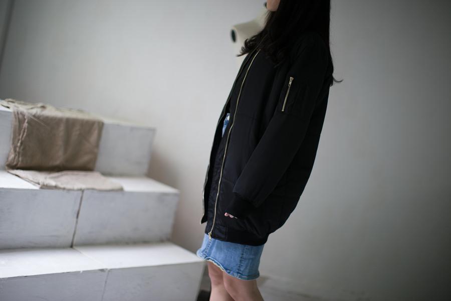 加棉中长款飞行夹克外套 0.65kg 年初十发货