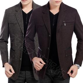 中青年西装领男士夹克冬季秋款羊毛呢子外套爸爸装西服30-40-50岁