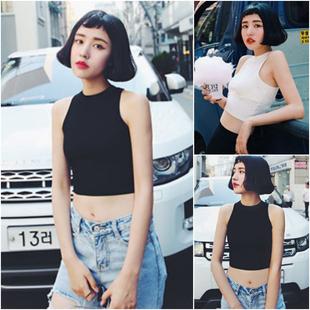 韩版女装夏季时尚aa修身显瘦短款露脐无袖外穿打底小背心吊带上衣
