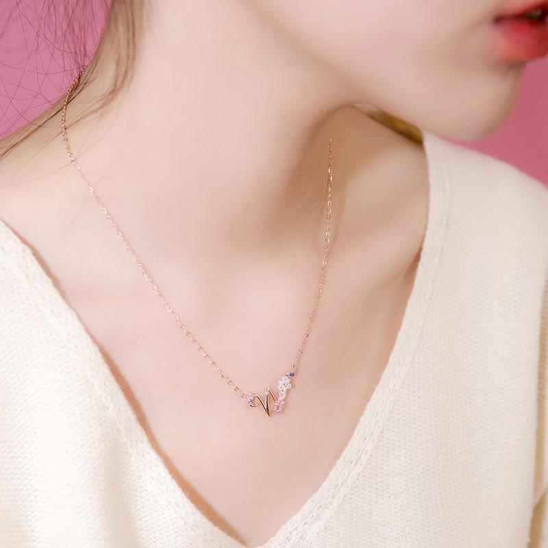 花朵学生银芒日系银韩国女韩版锁骨贝壳项链简约字母