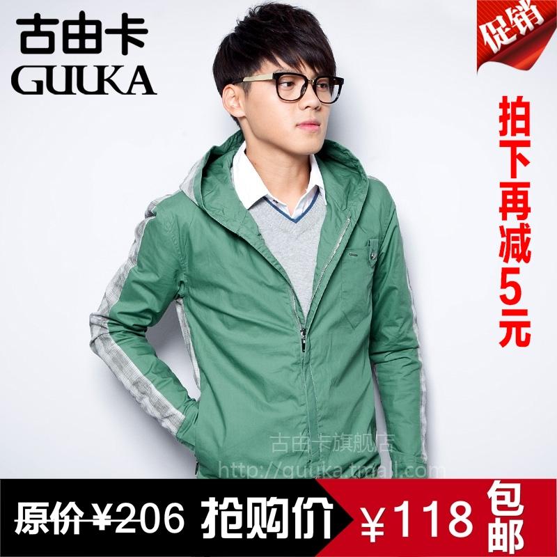 男装常规袖浅黄色Guuka/古由卡连帽浅灰色常规浅绿色棉质水洗夹克