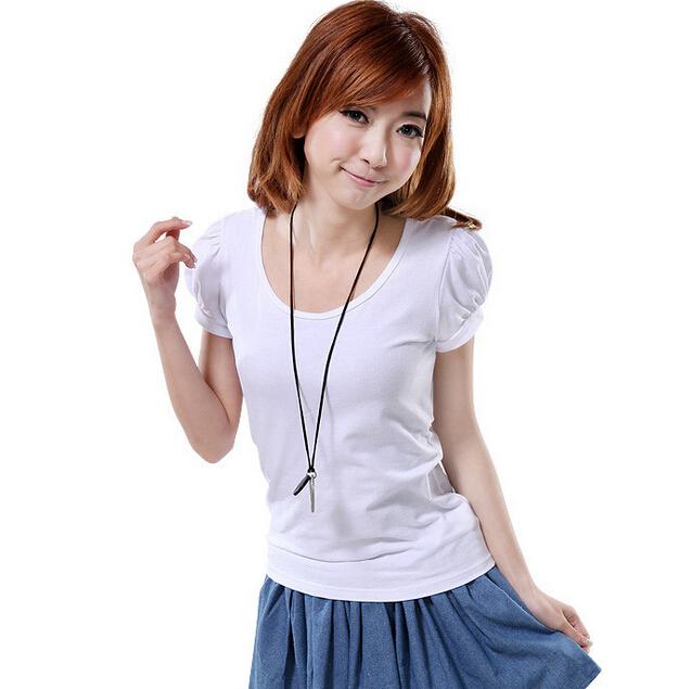 【天天特价】2014夏装短袖棉体恤 韩版品牌修身纯色大码短t恤女装