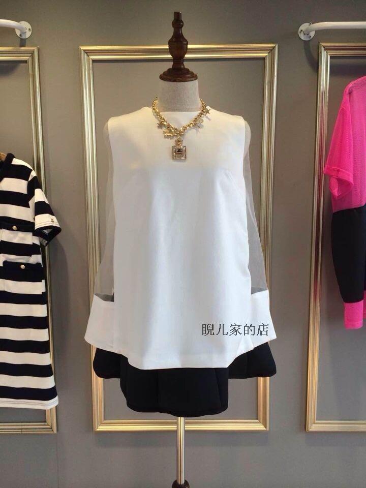 2014大牌同款亚历山大纯色套头混纺玻璃纱OL简约时尚百搭上衣女