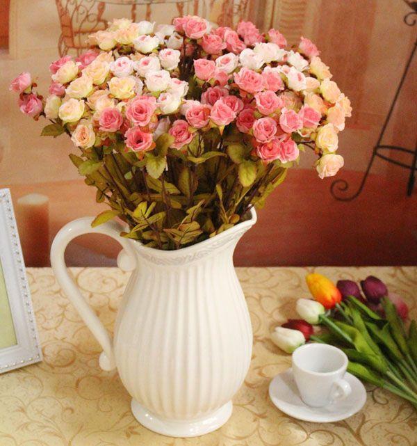 装饰客厅餐桌卧室欧式田园浮雕陶瓷摆设插花花瓶花器