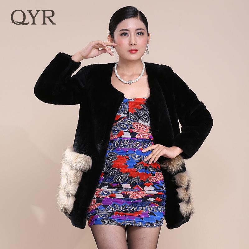 QYR时尚2014新款獭兔毛中长款女士皮草宝蓝拼接修身长袖皮草外套