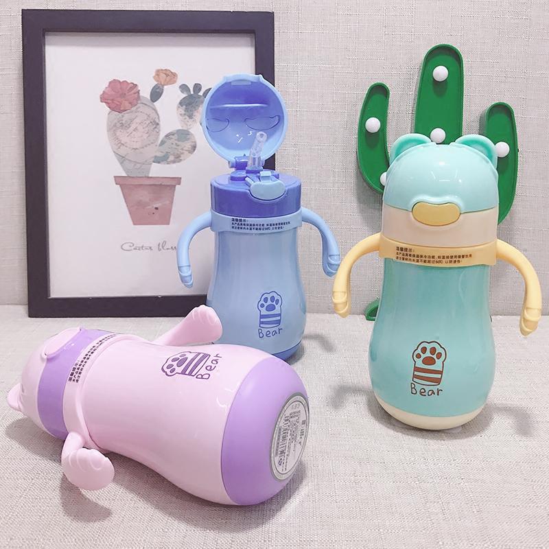 儿童水杯宝宝喝水杯子带吸管杯防摔婴儿保温杯带手柄幼儿园学饮杯