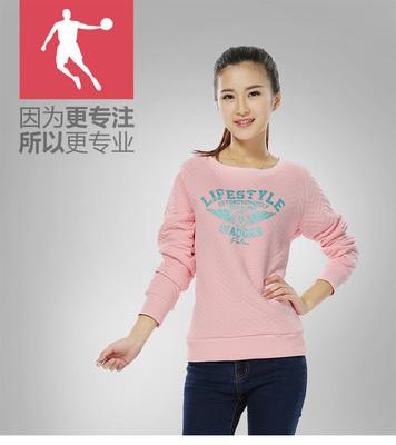 [新年价] 乔丹女装正品2015秋新品女士韩版运动上衣休闲保暖棉套头运动卫衣